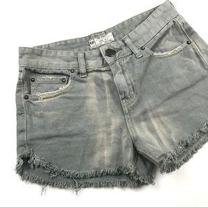 Free People Frayed High Waisted Shorts 24